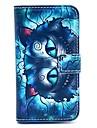 teste padrão azul gato caso corpo retro couro pu completo com slot para cartão para Samsung Galaxy S3 mini-i8190