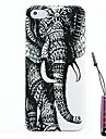 Left Elephant Pattern Hard Case Cover & Touch Pen for iPhone 4/4S