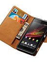 Wallet Style Genuine Leather Case for Sony Xperia L S36h