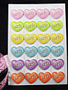Стильные стикеры с принтом в форме сердца (24 Наклейки)
