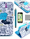COCO FUN® Blue Graffiti Pattern PU Leather Full Body Case with Screen Protector for iPhone 5C