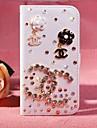 아이폰 5C에 대한 스탠드와 카드 슬롯 다이아몬드 꽃 PU 가죽 전신 경우