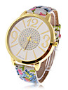Women's Rhinestone Round Dial Flower PU Band Quartz Wrist Analog Watch