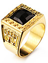 Men\'s Statement Rings Black Gemstone Personalized Love Stainless Steel Acrylic Gold Plated 18K gold Square Geometric Jewelry For Wedding
