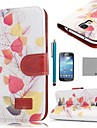 COCO FUN® Retro Leaf Pattern PU Leather Case with Screen Protecter and Stylus for Samsung Galaxy S4 Mini i9190