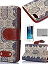 COCO FUN® Retro Brown Floral Pattern PU Leather Full Body Case with Film, Stand and Stylus for iPhone 5/5S