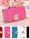 cuir lézard corps de cas complète aimant strass retourner avec fente pour carte pour Samsung Note 2 N7100 (couleurs assorties)