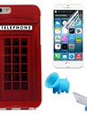 Telephone Booth Pattern TPU Soft Case with Stand and Protective Film for iPhone 6/6S