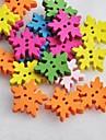 botones de madera diy colorido del copo de nieve en forma de libro de recuerdos Scraft de coser (10 piezas color al azar)