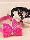 Dog Collar Adjustable / Retractable Bowknot PU Leather Purple Yellow Red Blue Pink