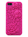 3D Rose Carving Pattern Silicon Rubber Case for iPhone5/5s(Assorted Colors)