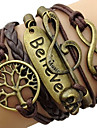 Women\'s Wrap Bracelet Inspirational Plaited Vintage Costume Jewelry Leather Alloy Love Infinity Tree of Life Jewelry For Daily Casual