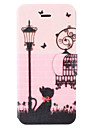 Butterfly Classic Street Black Cat Pattern Clamshell PU Leather Full Body Case with Card Slot for iPhone 5C