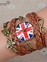 lureme®british horloge drapeau national bracelet en cuir tressé