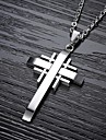 Men\'s Cross Shape Pendant Necklace Titanium Steel Gold Plated Pendant Necklace Christmas Gifts Wedding Party Daily Casual