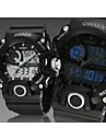 OHSEN 남성 스포츠 시계 LED 달력 크로노그래프 방수 석영 실리콘 밴드 블랙