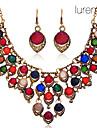 Lureme®Vintage Oval Shape Pattern Earrings Necklace Jewelry Set
