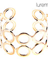 Women's Lureme Gold Plated Double Layers Hollowed-out Bracelet Cuff