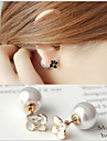 Stud Earrings Pearl Imitation Pearl Gold Plated Flower White Black Jewelry Wedding Party Daily Casual