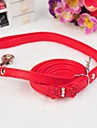 Adjustable PU Leather Rhinestone Bowknot Decorated Collar with Leash for Pet Dogs(Assorted Colours)
