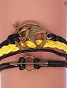 кожаные браслеты шарма eruner®leather браслеты многослойная сплава Mockingjay прелестями браслет ручной работы