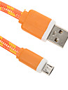 Micro USB 2.0 USB 2.0 USB Cable Adapter Braided Flat Cable For 15 cm Nylon