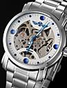 WINNER 남성 스켈레톤 시계 기계식 시계 중공 판화 오토메틱 셀프-윈딩 스테인레스 스틸 밴드 실버