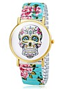 Women\'s Bracelet Watch Quartz Analog Skull Dial Flower Band Cool Watches Unique Watches Strap Watch