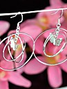 Beautiful Double Circles with Butterfly Silver 925 Drop Earrings 1 Pair