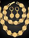Feminino Conjunto de Joias bijuterias Pedaco de Platina Chapeado Dourado Liga Colares Brincos Bracelete Para Casamento Festa Diario