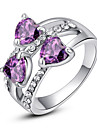 Women\'s Statement Ring Crystal Purple Rainbow Transparent Imitation Diamond Alloy Classic Love Fashion Party Costume Jewelry