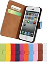 Solid color Stylish Genuine PU Leather Flip Cover Wallet Card Slot Case with Stand for iPhone 5/5S
