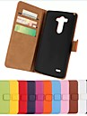 Solid color Stylish Genuine PU Leather Flip Cover Wallet Card Slot Case with Stand for LG G3(Assorted Colors)