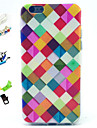 Colored Squares Pattern with Stylus ,Anti-Dust Plug and Stand TPU Soft Case for iPhone 6s 6 Plus