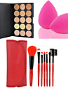 Concealer/Contour Dry Cream Concealer 15 Colors Facial Face Contour Concealer Cream Palette+7PCS Makeup Brushes Set Kit+Powder Puff