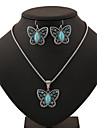 Men\'s Women\'s Jewelry Set Party Birthday Engagement Gift Daily Casual Turquoise Alloy Butterfly Animal Earrings Necklaces