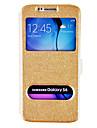 Para Samsung Galaxy Capinhas Com Suporte / com Visor / Flip Capinha Corpo Inteiro Capinha Cor Única Couro PU Samsung S6