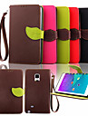 Case For Samsung Galaxy Samsung Galaxy Note Card Holder Wallet with Stand Flip Full Body Cases Solid Color PU Leather for Note 4 Note 3