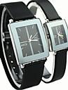 Couple's Square Dial Black Rubber Band Quartz Wrist Watch Cool Watches Unique Watches