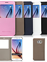 용 삼성 갤럭시 케이스 스탠드 / 윈도우 케이스 풀 바디 케이스 단색 인조 가죽 Samsung S6 edge plus