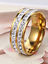 European  fashion stainless steel diamond ring and gold in two row Statement Rings Wedding / Party / Daily / Casual 1pc