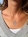 Women's Leaf Pendant Necklace Silver Plated Alloy Pendant Necklace , Wedding Party Daily