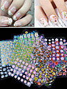Cheap Wholesale 30 Sheet/lot 3D Design Tip Nail Art Nail Sticker Nail Decal Manicure Mix Random Color Nail Decoration