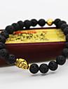 Men's Women's Beads Strand Bracelet Unique Design Vintage Casual Fashion Beaded Lava Stone Other Alloy Black Circle Buddha Jewelry Jewelry