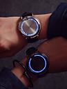 Homme Montre Bracelet Unique Creative Montre Montre Tendance Quartz Ecran Tactile LED Cuir Bande Creatif Cool Noir