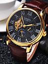 남성용 손목 시계 기계식 시계 오토메틱 셀프-윈딩 방수 중공 판화 가죽 밴드 럭셔리 블랙 브라운