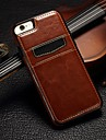 Case For iPhone 5 Apple iPhone 5 Case Card Holder Back Cover Solid Color Hard Genuine Leather for iPhone SE/5s iPhone 5