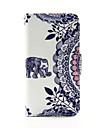 elephant et le cercle fleur PU portefeuille en cuir cas de corps entier pour iPod Touch 5/6