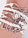 Муж. Жен. Кожаные браслеты Wrap Браслеты Любовь переплетенный Многослойный Кожа Сердце бесконечность LOVE Бижутерия Новогодние подарки