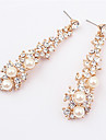 Women\'s Pearl Imitation Pearl Rhinestone Drop Earrings - Fashion European Screen Color Earrings For